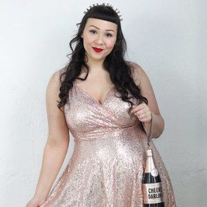 Rose Gold Blush Sequin Party Dress